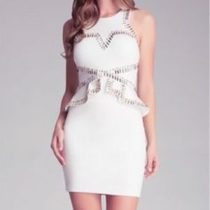 Bebe white and gold studded peplum dress